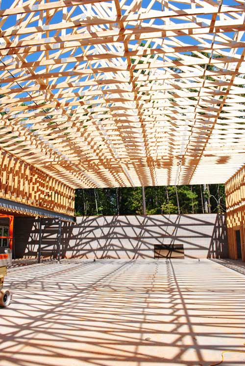Striped floor thru rafters