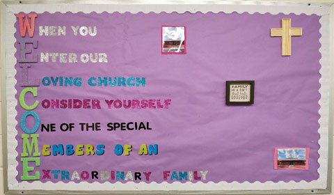 picture of bulletin board about church family